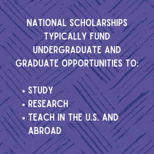 National scholarships typically fund undergraduate and graduate opportunities to study, research, or teaching the U.S. and abroad.