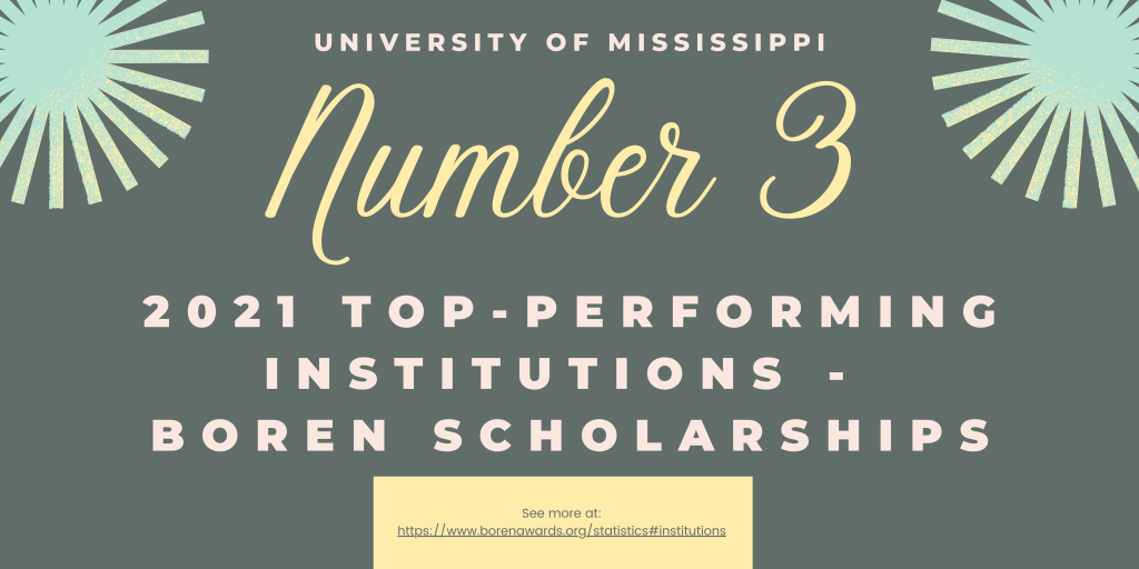 University of Mississippi is Number 3 on the list of 2021 top-performing institutions for the Boren scholarships. See more at https://www.borenawards.org/statistics#institutions